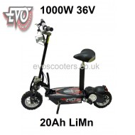 "1000W 36V EVO Powerboards electric scooter, 20Ah LiMn battery, 12"" tyres C858"